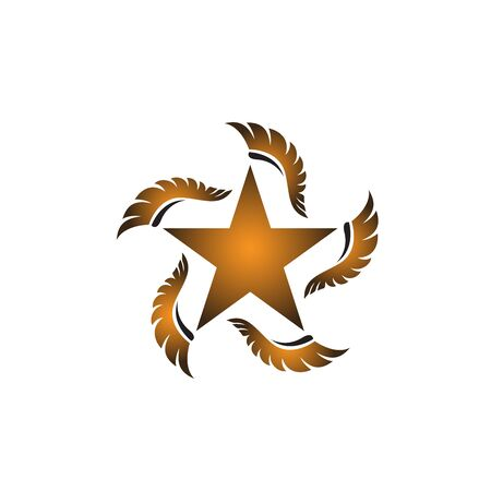 Golden star with five gold feather wings illustration Illustration