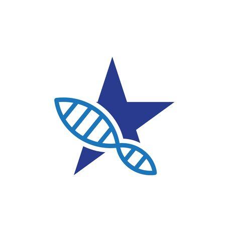 Dna helix blue star medical health logo design Ilustração