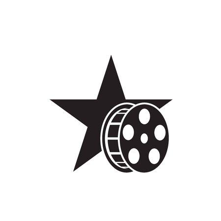 Star silhouette with reel film cinema logo design Illustration