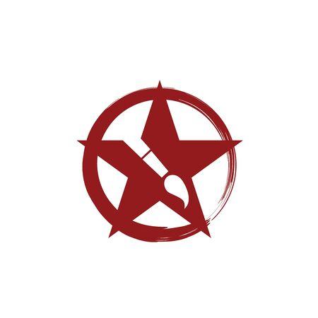 Red star painting circle brushstroke arts logo design