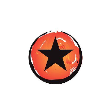 Star silhouette inside circle orange paintbrush logo design