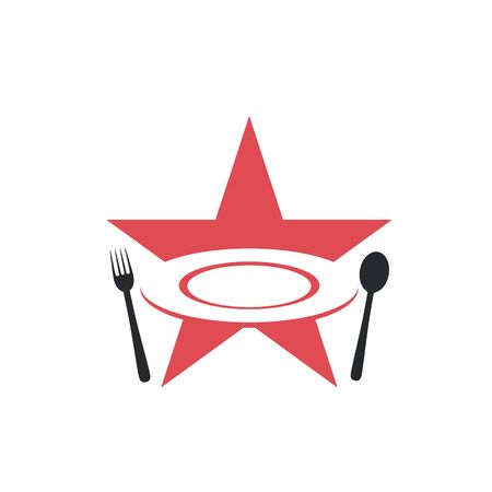 Star with plate, spoon, and fork illustration restaurant food logo design