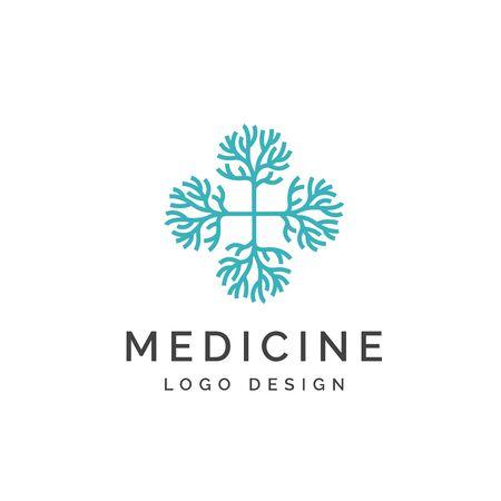 Crosshealth medical logo with neuron patterns Çizim
