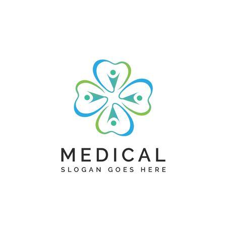 Crosshealth medical logo design with clover leaf shapes and human Illustration