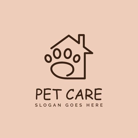 Pet shop clinic home care logo design with house and dog or cat footprints