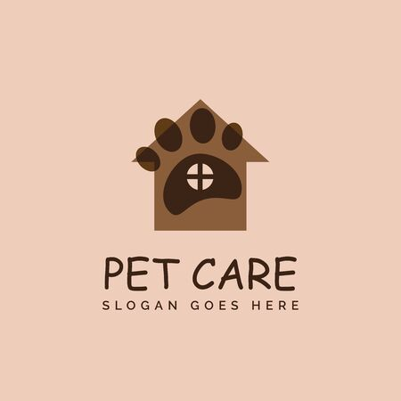 Pet shop clinic home care logo design with house, window and dog or cat footprints