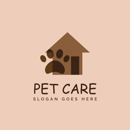 Pet shop clinic home care logo design with house, door and dog or cat footprints