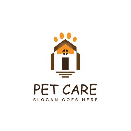 Pet shop clinic home care logo design with house and yellow dog or cat footprints