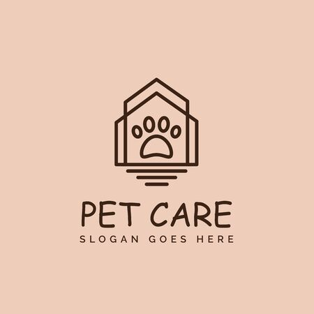 Modern simple pet shop clinic home care logo design with house and dog or cat footprints Stock Illustratie