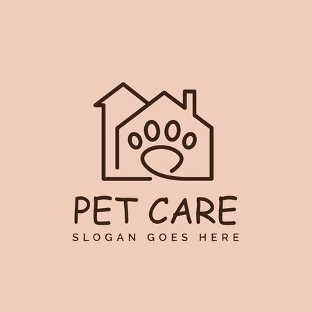 Simple pet shop clinic home care line art logo design with house, chimney and dog or cat footprints Stockfoto - 129968081