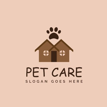 Pet shop clinic home care logo design with house, two windows and dog or cat footprints