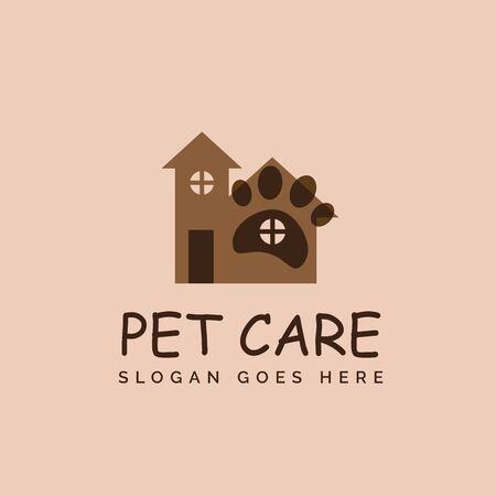 Playful pet shop clinic home care logo design with house and dog or cat footprints