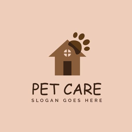 Pet shop clinic home care logo design with brown house and dog or cat footprints