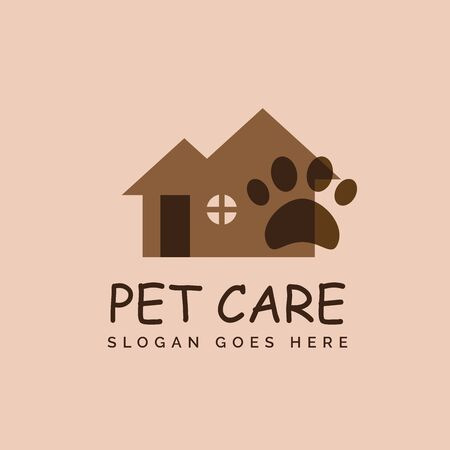 Pet shop clinic animal home care logo design with house and dog or cat footprints Stockfoto - 129968199