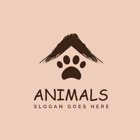 Pet shop clinic home care logo design with paintbrush roof and dog or cat footprints
