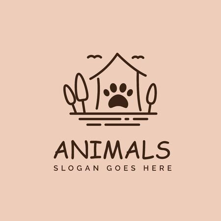Pet shop clinic home care logo design with house, tree and dog or cat footprints Stock Illustratie