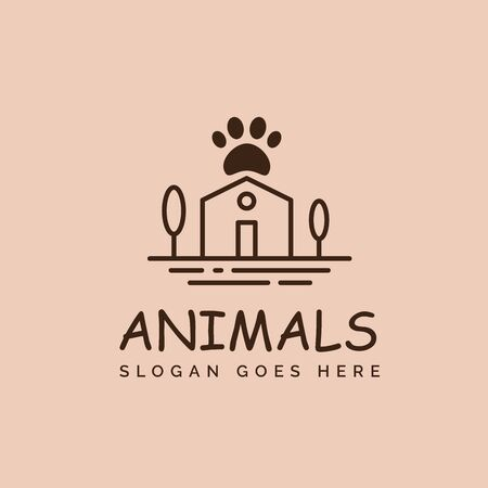 Pet shop clinic home care logo design with house, tree and dog or cat footprints Stockfoto - 129968203