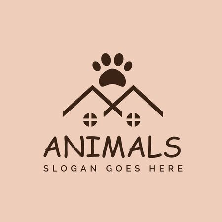 Pet shop clinic home care logo design with roof house and dog or cat footprints Stockfoto - 129968204