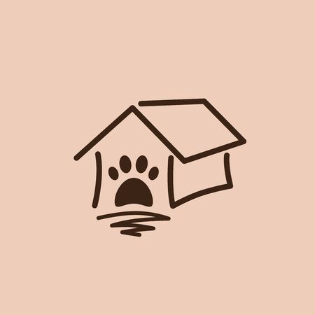 Pet shop clinic home care line art logo design with house and dog or cat footprints Stockfoto - 129968206