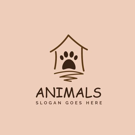 Simple pet shop clinic home care logo design with house and dog or cat footprints Stock Illustratie