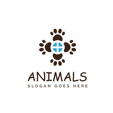 Pet shop clinic home care logo design with window and dog or cat footprints