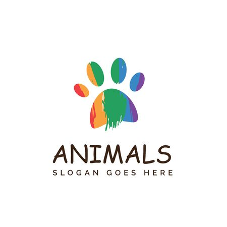 Colorful rainbow paw dog or cat footprints pet shop clinic home care logo design Stockfoto - 129968213