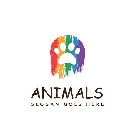 Rainbow paw dog or cat footprints pet shop clinic home care logo design