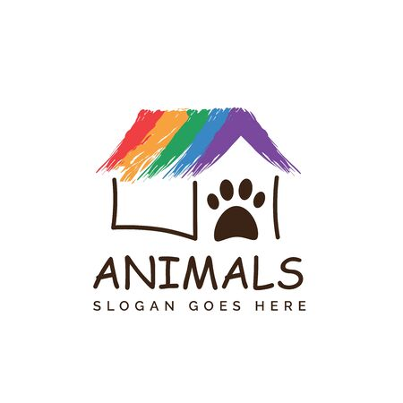 Rainbow pet shop clinic home care logo design with house and dog or cat footprints