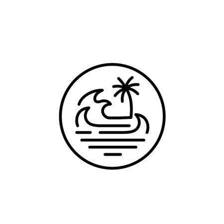 Simple modern beach line art illustration logo design. Ocean and wave vector graphics