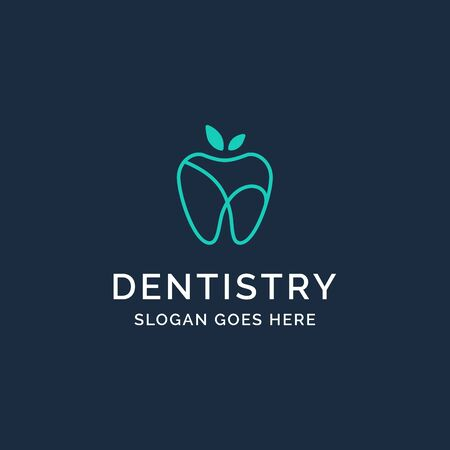 Dental clinic dentistry logo design with blue apple teeth illustration Standard-Bild - 130420739