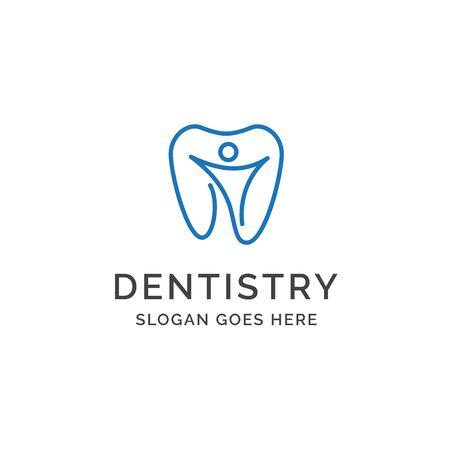 Dental clinic dentistry logo design with teeth and human illustration Standard-Bild - 130420740