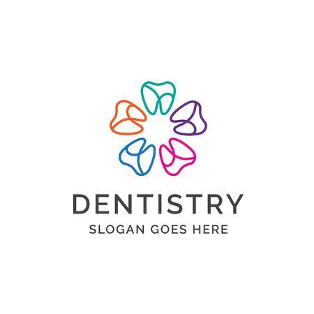 Dental clinic dentistry logo design with colorful flower teeth illustration Standard-Bild - 130420543