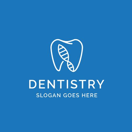 Dental clinic dentistry logo design with blue teeth and dna helix illustration Standard-Bild - 130420550