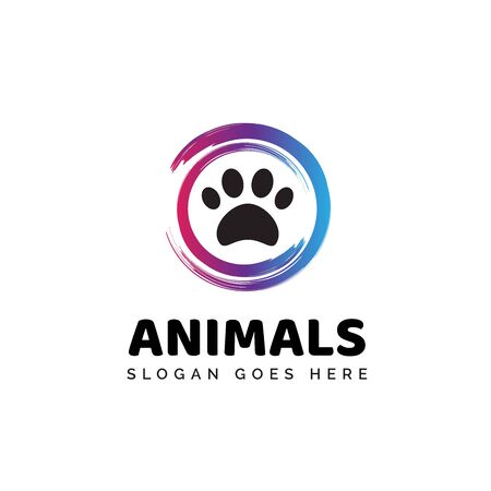 Pet shop clinic home care logo design with modern circle paintbrush and dog or cat footprints