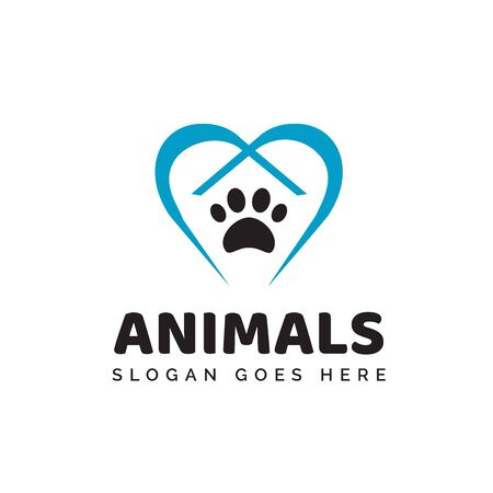 Pet shop clinic home care logo design with blue heart, roof house and dog or cat footprints