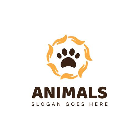 Pet shop clinic home care logo design with yellow circle hand palm and dog or cat footprints
