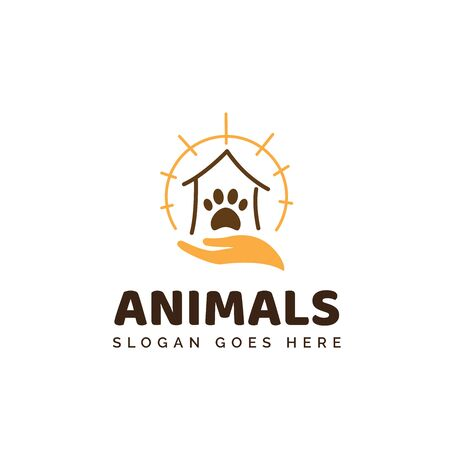 Pet shop clinic home care logo design with yellow sun rays, house, hand and dog or cat footprints Stock Illustratie
