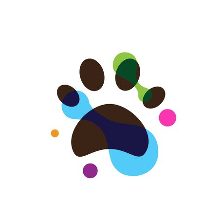 Pet shop clinic home care logo design with colorful painting rainbow dog or cat footprints