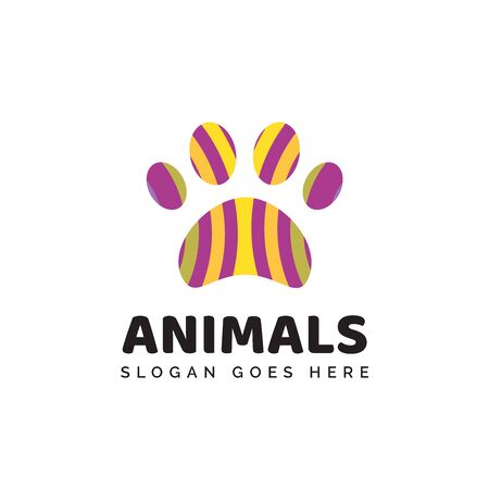 Pet shop clinic home care logo design with colorful pattern dog or cat footprints Stock Illustratie