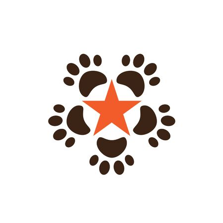 Pet shop clinic home care logo design with star and dog or cat footprints Stock Illustratie