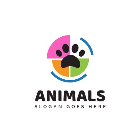 Pet shop clinic home care logo design with colorful circle puzzle and dog or cat footprints