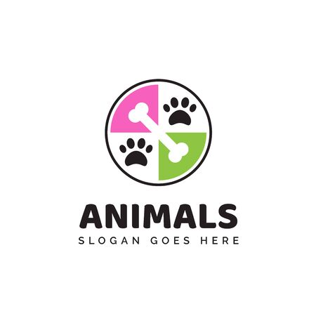 Pet shop clinic home care logo design with colorful circle puzzle, bones and dog or cat footprints Stock Illustratie