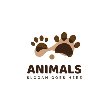 Pet shop clinic home care logo design with brown dog or cat footprints Stock Illustratie