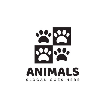Pet shop clinic home care logo design with black and white chess dog or cat footprints Stock Illustratie