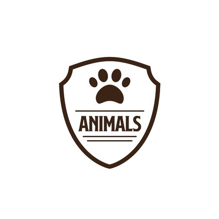 Pet shop clinic home care logo design with guarantee protect shields and dog or cat footprints