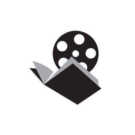 Modern book in black and white color with reel film cinema illustration graphic logo design inspiration Illustration