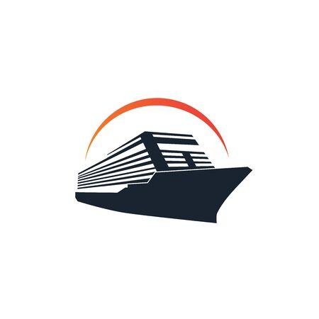 Simple ship cruiser on the ocean with sun illustration logo design