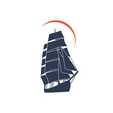 Simple ship sailboat on the ocean with sun illustration logo design Ilustração