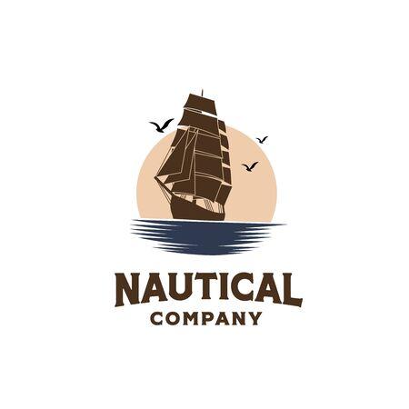 Vintage classic ship sailboat on the ocean with sunset background illustration logo design Ilustração