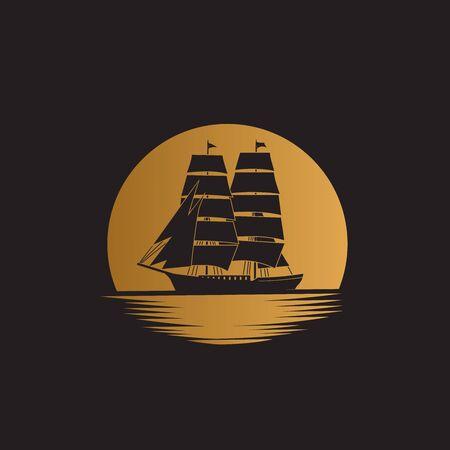 Ship sailboat on the ocean with gold moon background illustration logo design Ilustração